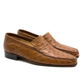 Stefano Ricci Brown Ostrich Leather Loafers