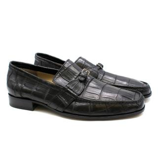 Stefano Ricci Black Crocodile Leather Loafers