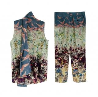 Valentino Printed Silk Floral Top & Trousers