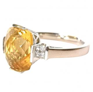 Bespoke Citrine & Diamond Ring 18ct Gold