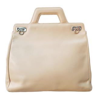 Salvatore Ferragamo Vintage Beige Leather Gancini Shoulder Bag