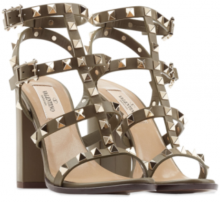 Valentino Khaki Rockstud Block-Heel Sandals