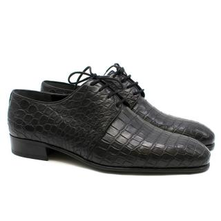 Stefano Ricci Black Crocodile Leather Derby Shoes