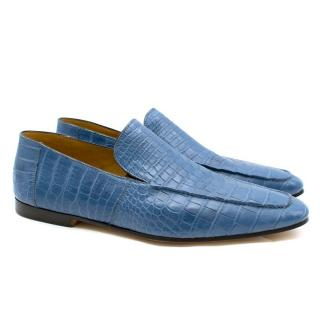 Zilli Blue Crocodile Leather Loafers