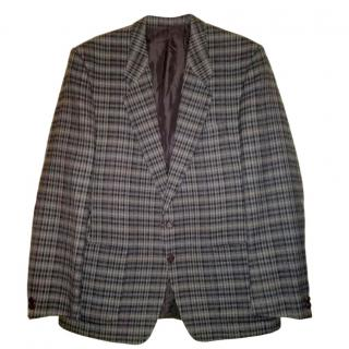 Yves Saint Laurent Vintage Brown Checked Wool Blazer