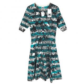 M Missoni Black Stripe Flower Print Knit Skater Dress