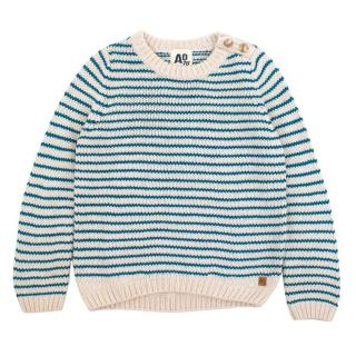 AO76 Girls' White and Blue Striped Knit Jumper
