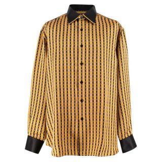 Stefano Ricci Gold Print Patterned Silk Shirt