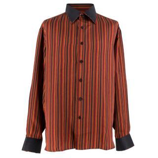 Stefano Ricci Red and Black Striped Silk Shirt
