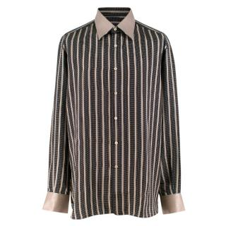 Stefano Ricci Silver and Black Striped Silk Shirt