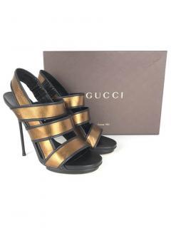 Gucci Bronze Nappa Charlotte Leather Sandals
