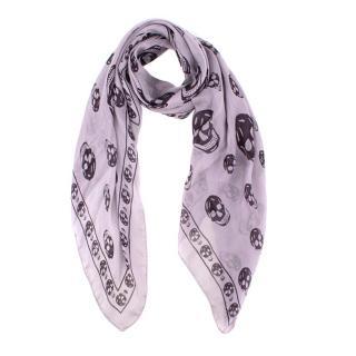 Alexander McQueen Purple Skull Silk-Chiffon Scarf