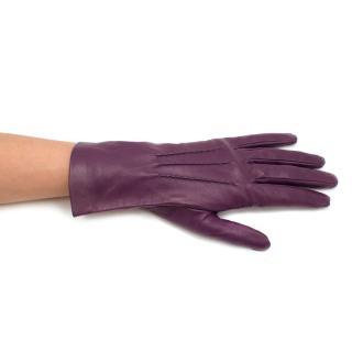 Yves Saint Laurent Purple Leather Gloves