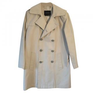 Club Monaco cream double-breasted cotton trench coat