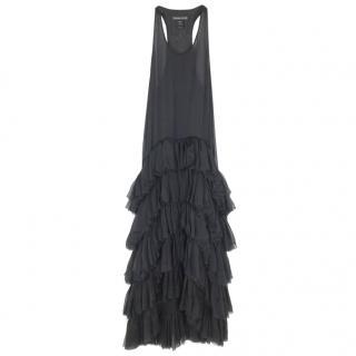 Thomas Wylde Black Dropped-Waist Ruffle Dress