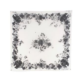 Alexander McQueen Skull & Floral-Print Silk Scarf