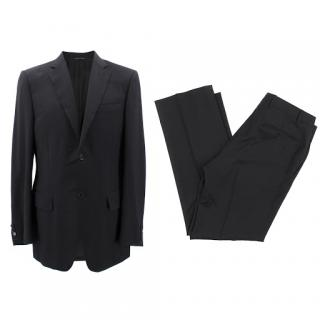 Canali Single-Breasted Black Wool Suit