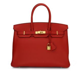 Hermes Birkin 35cm Togo Leather Geranium Bag