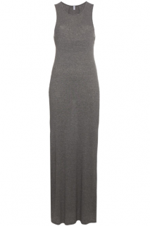 LOT 78 Light Grey Ribbed Jersey Maxi Dress with Back Panel