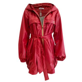 Blumarine Hooded Red Raincoat