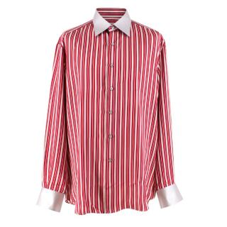 Stefano Ricci Red and Silver Striped Silk Shirt