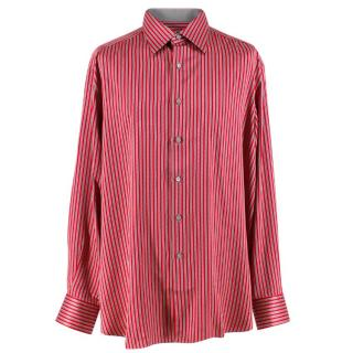 Stefano Ricci For Saint-Phil Red and Grey Striped Silk Shirt
