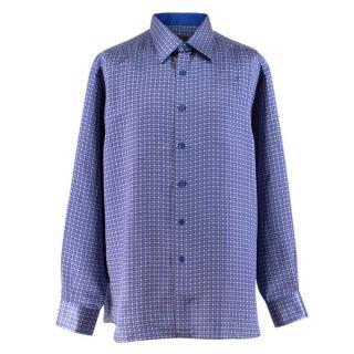 Stefano Ricci Blue Print Silk Shirt