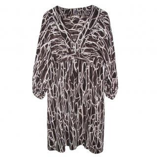 Joseph linear-print  silk tunic dress