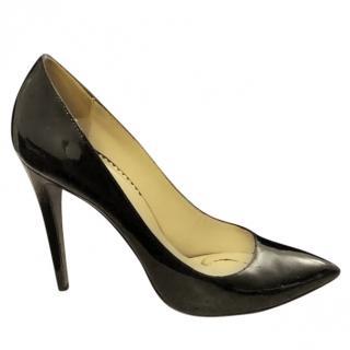 Emporio Armani black patent leather pumps