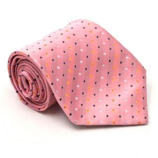 Tagg's Pink Polka Dot & Diagonal Striped Silk Tie
