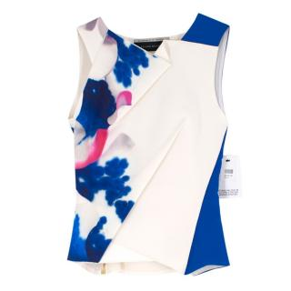 Roland Mouret White and Blue-Printed Silk Top