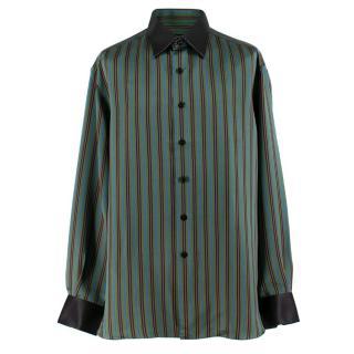 AY (Maged) Stefano Ricci Green Multi Striped Silk Shirt