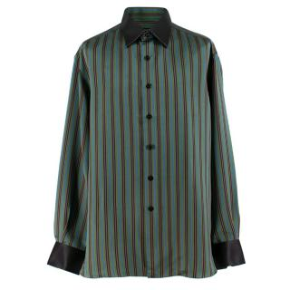 Stefano Ricci Green Multi Striped Silk Shirt