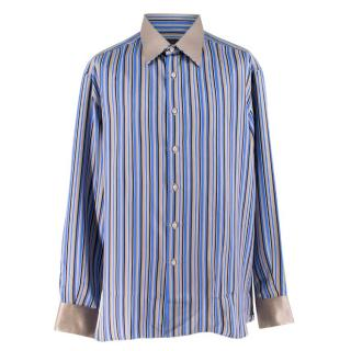 Stefano Ricci Blue Striped Silk Shirt