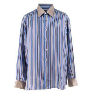 Stefano Ricci Blue Striped Silk Shirt