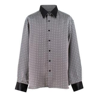 Stefano Ricci Black and White Print Silk Shirt