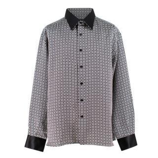 Stefano Ricci Black and White Print Silk Shirt