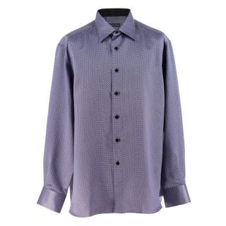 Stefano Ricci Purple Print Silk Shirt