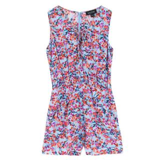 Saloni Blue Floral Silk Playsuit