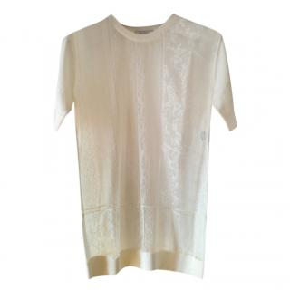 Nina Ricci lace-panel wool top