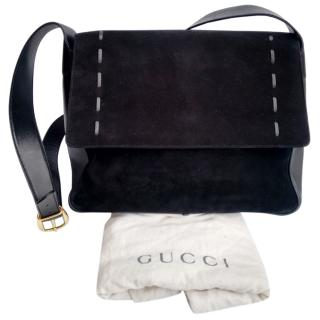Gucci Vintage Black Leather Cross-Body Bag