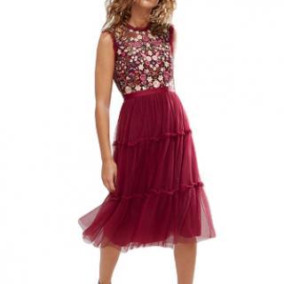 Needle & Thread Cherry High Neck Midi Tulle Dress