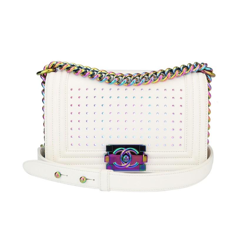Chanel LED Small Boy White Lambskin Bag