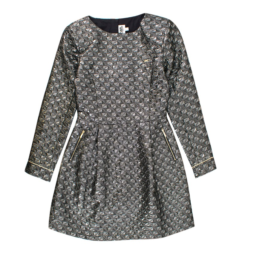 Karl Lagerfeld Girls' Metallic Jacquard Dress