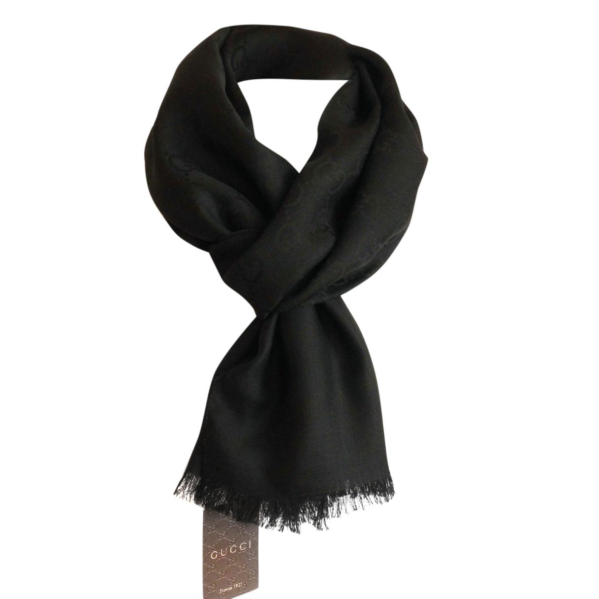 b638d9953f60a Gucci Black Wool Silk Scarf 1