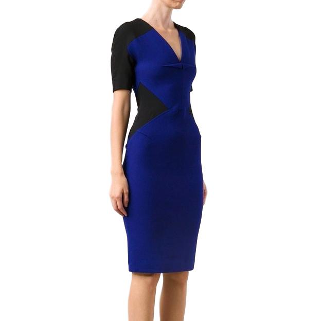 Roland Mouret Black and Blue Colorblock Nabis Dress
