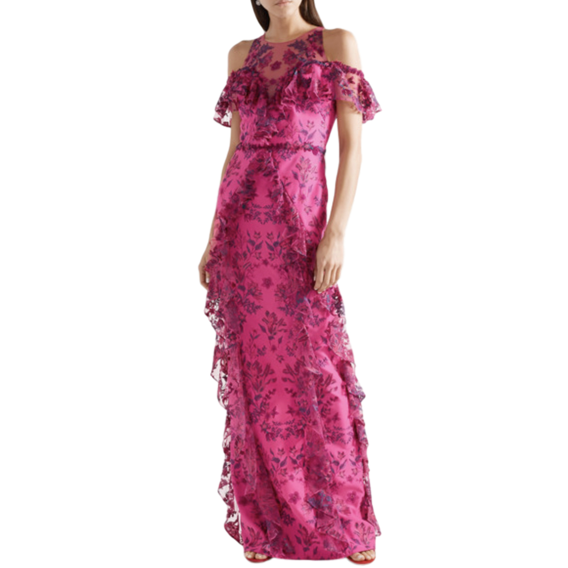 Marchesa Notte Cold-shoulder ruffled embroidered tulle and ponte gown