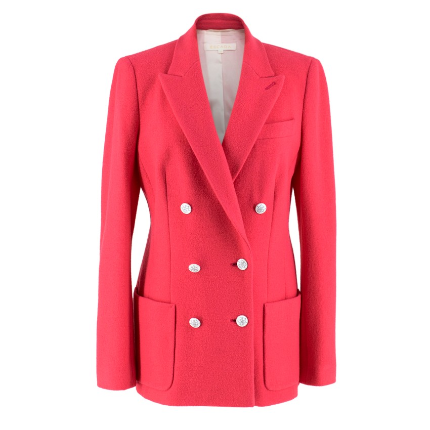 Escada Hot Pink Double Breasted Wool Jacket