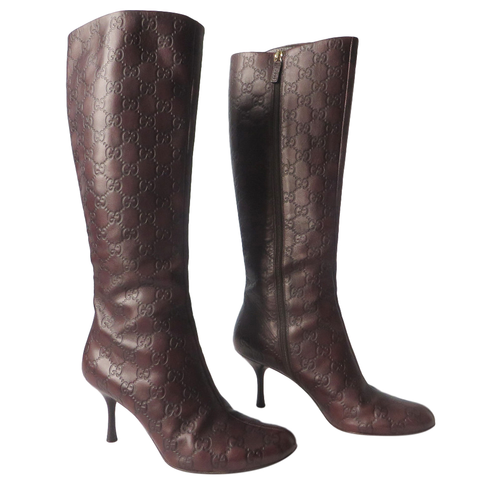 796188b8876 Gucci Guccissima Brown High Heel Boots