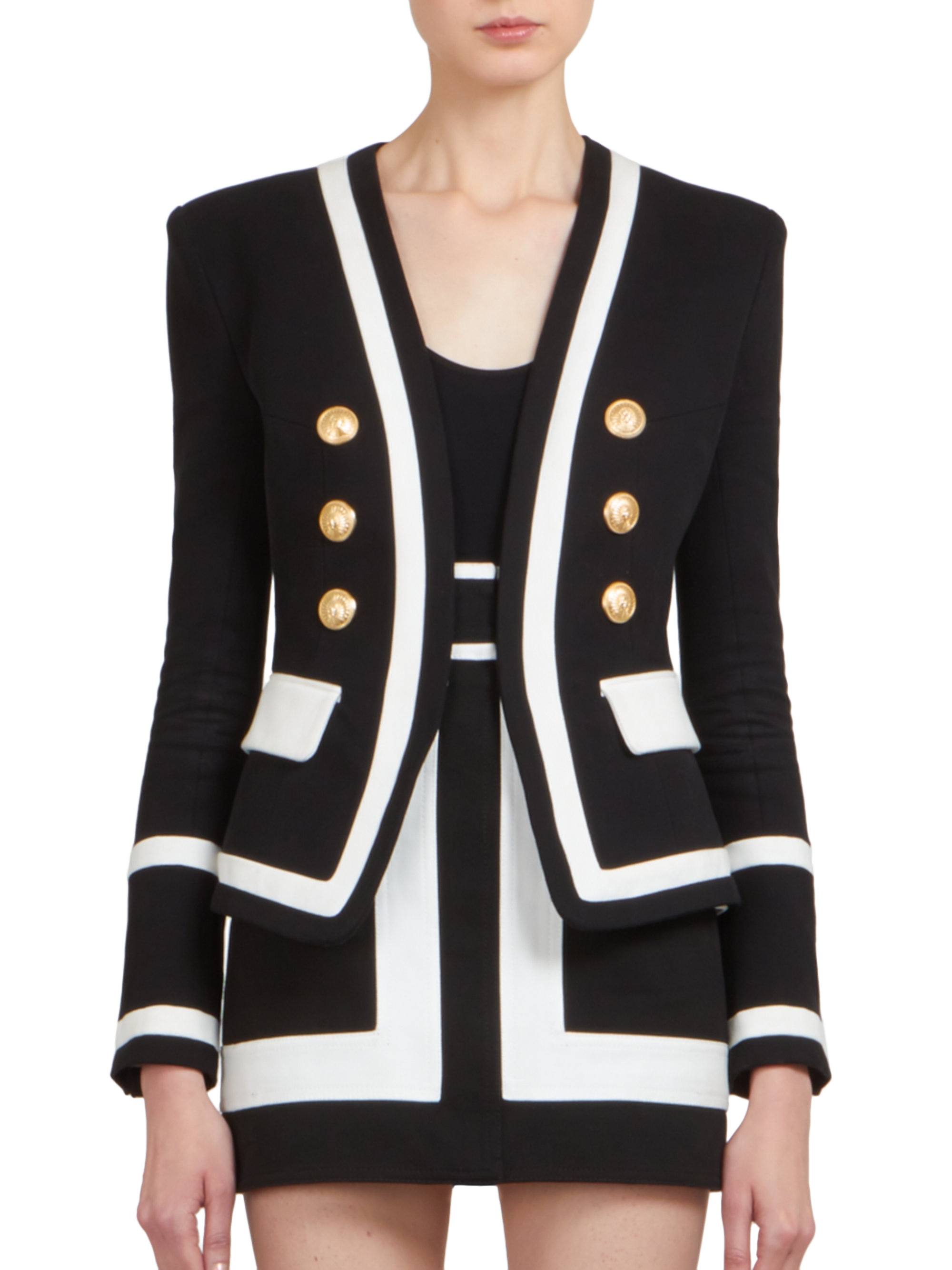 d766bf0c Balmain Black And White Military Blazer | HEWI London